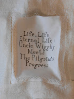 "A fabric label for ""Life, Life, Eternal Life."""