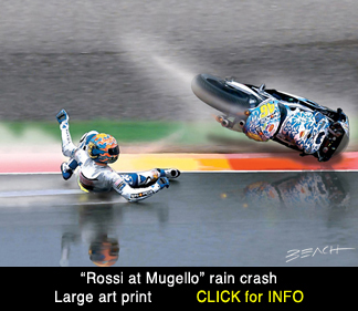 Valentino Rossi Mugello crash art print, reproduction for sale, beacham owen, beach