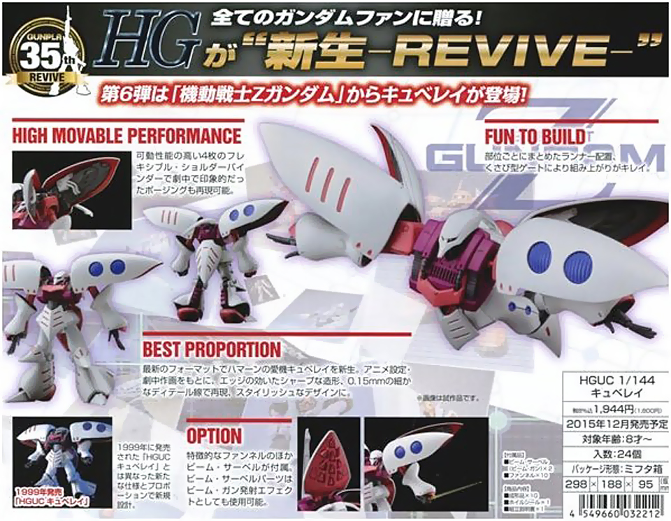Image result for HGUC Qubeley Revive 1/144 Scale
