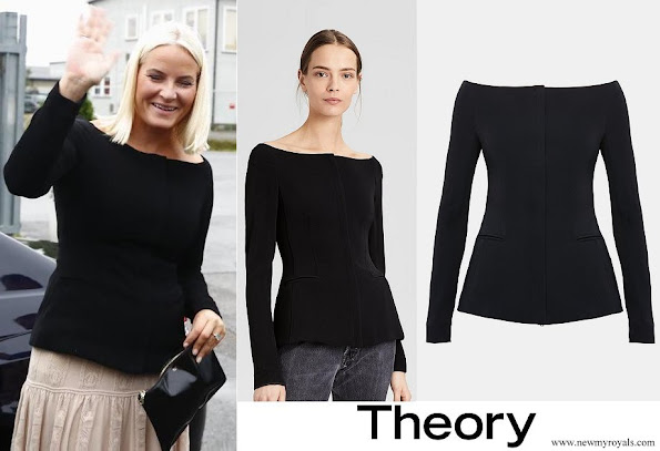 Crown Princess Mette-Marit wore Theory Off-The-Shoulder Crepe Jacket