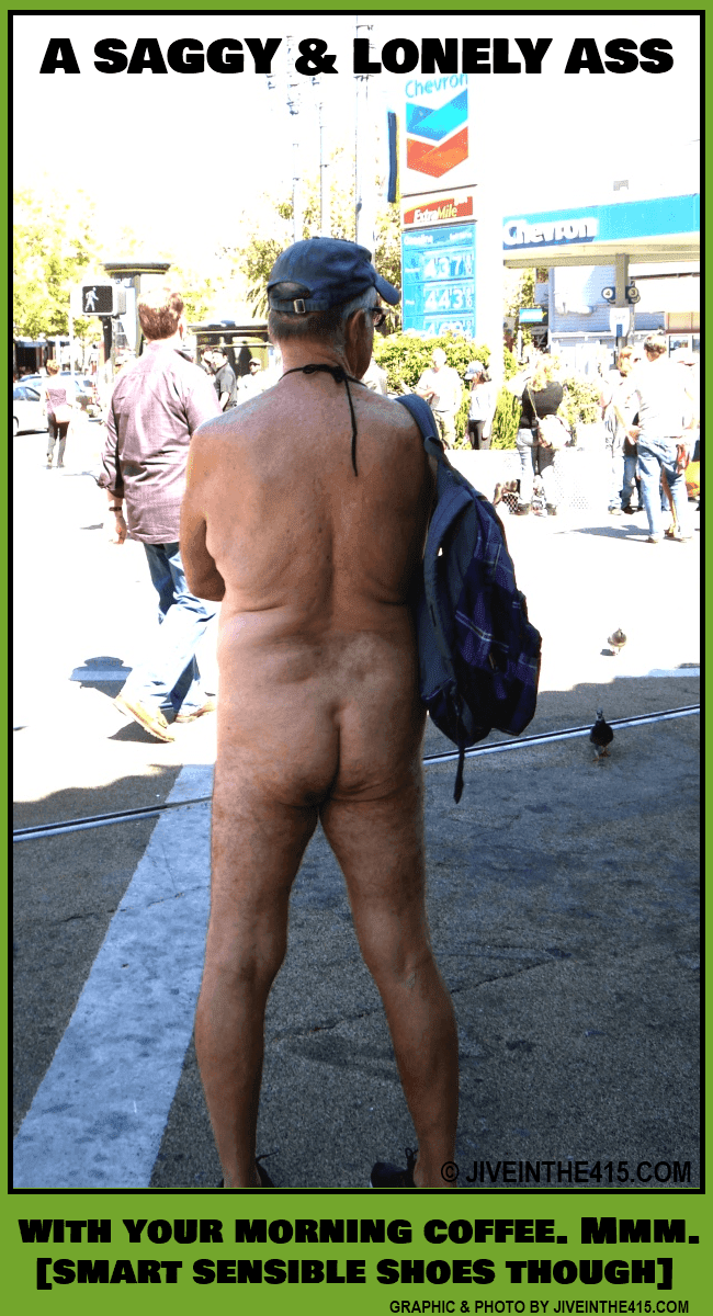 A lone nude senior citizen surveys the scene in San Francisco's Castro district, on Saturday September 28th, 2013, to protest the city ban on public nudity. photo by jiveinthe415.com