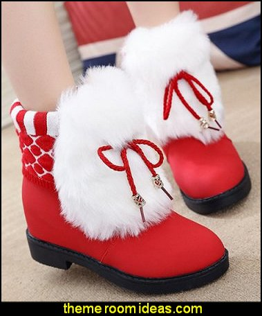 Furry Knit Panel Short Boots