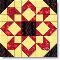 Fireworks quilt block - © W. Russell, patchworksquare.com