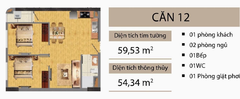 Căn 59,53 m2 CT2B Nghĩa Đô
