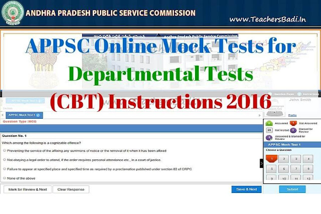 APPSC,Online Mock Tests,Departmental Tests(Computer Based Test),Instructions 2016