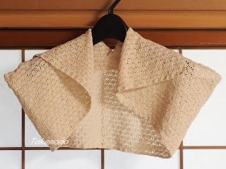 アナンダの染色綿糸の透かし編みのボレロ2