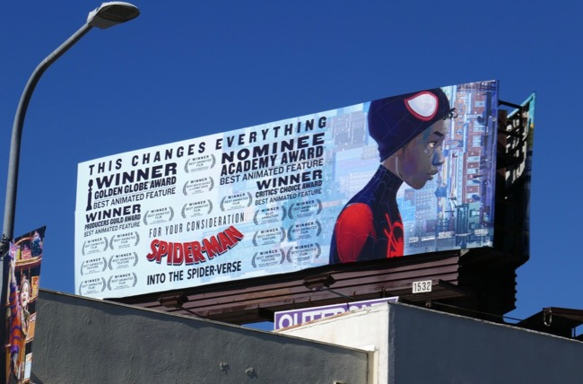 SpiderMan Into SpiderVerse Oscar billboard