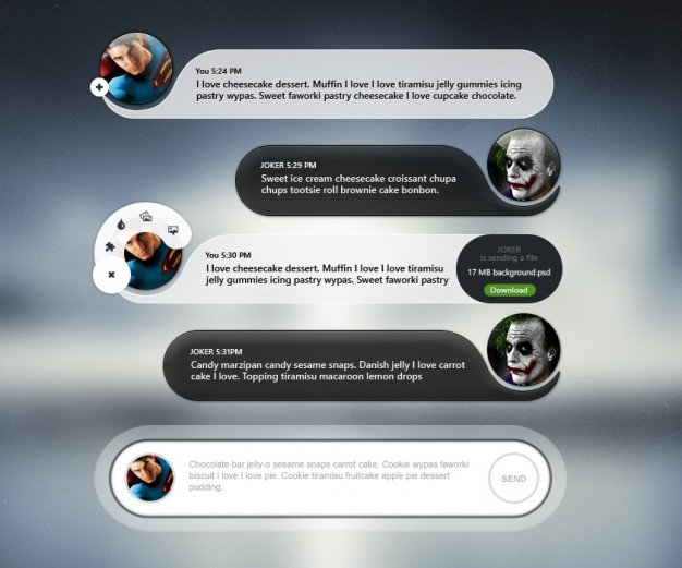 Mobile chat user interface with avatar Free Psd