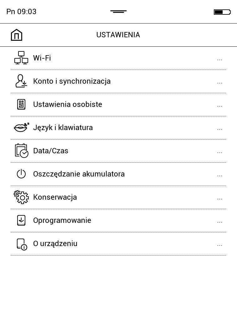 Widok ustawień czytnika w PocketBook Touch Lux 4
