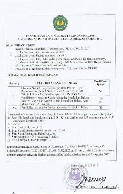 Lowongan Kerja Dosen Tetap dan Khusus Universitas Islam Darul Ulum Lamongan Tahun 2017