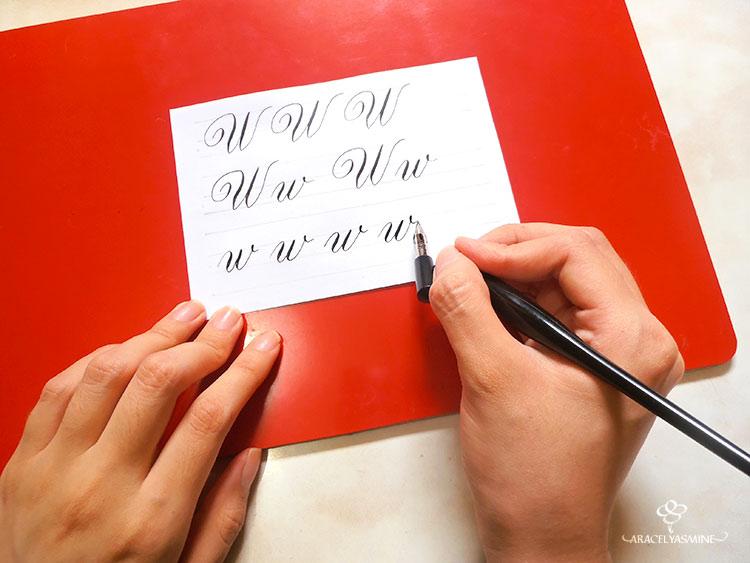 caligrafia copperplate aprender escribir letra w alfabeto