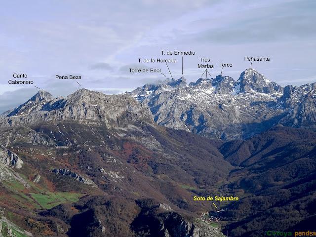 Vistas al Macizo del Cornión y sus cimas más características en Picos de Europa