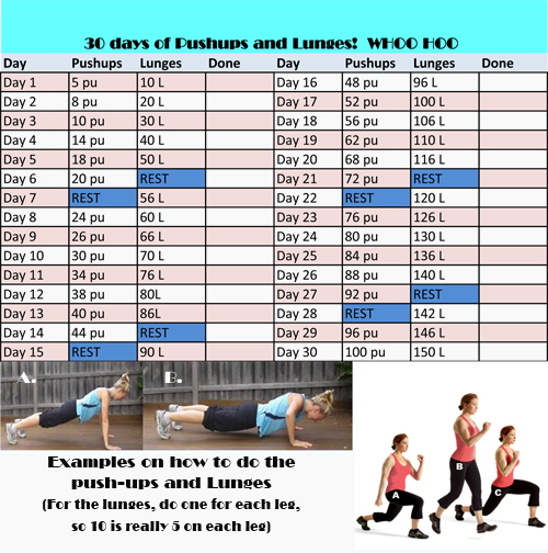 Squat ang lunge challenge Workouts Pinterest Lunges, Squat - workout tracking sheet