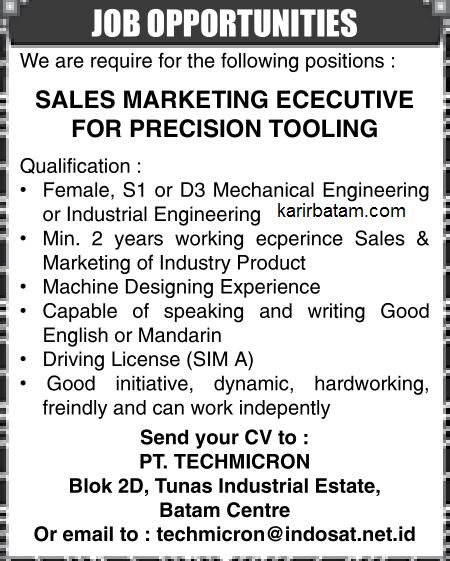 Lowongan Kerja PT. Techmicron Indonesia