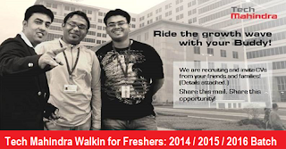 Tech Mahindra Limited Walkin for Fresher