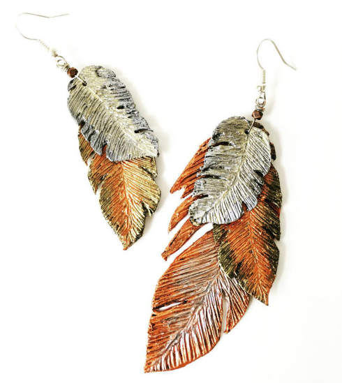 Layered paper feather handmade earrings in autumn colors