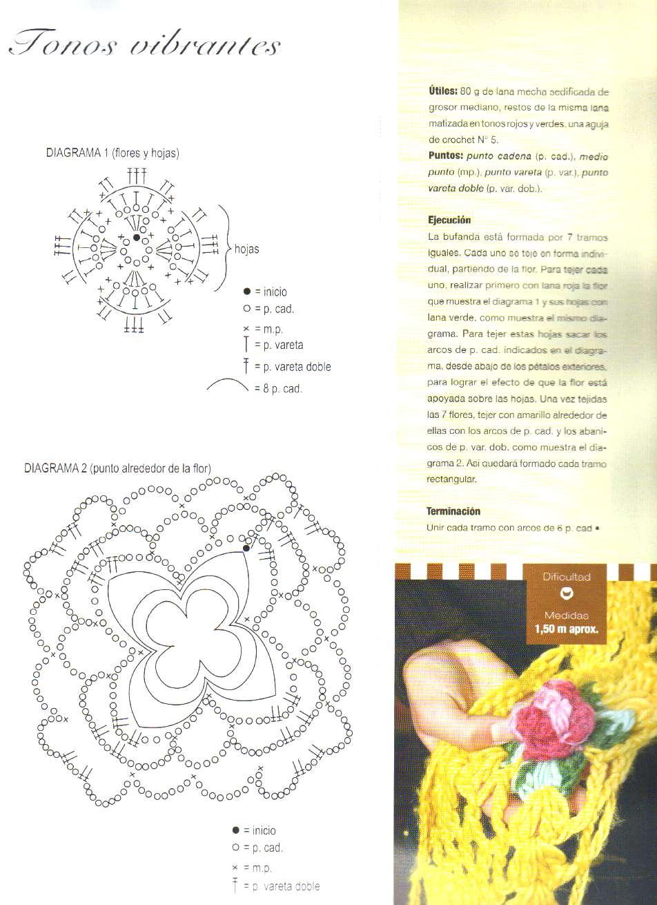 Bufanda caladas con flores en relieve