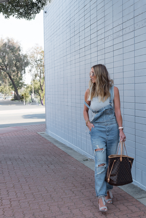 parlor girl distressed overalls
