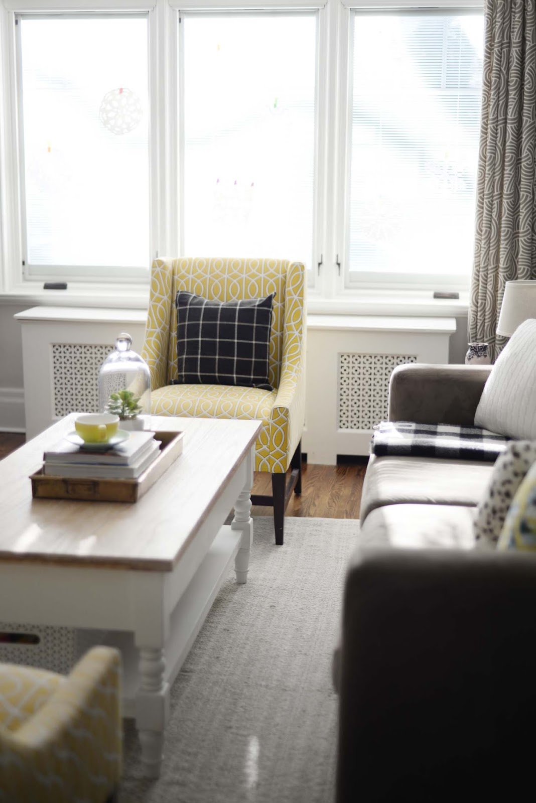 Wayfair Winter Refresh | Living room windows | Dwell Studio Gate chair | RamblingRenovators.ca