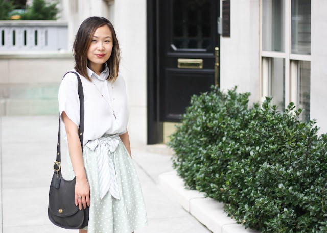 Grey Everlane Silk Blouse and Polka Dot Shorts