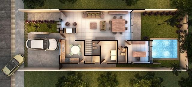 Plano de casa moderna con tres dormitorios planos de for Casa moderna 5 dormitorios