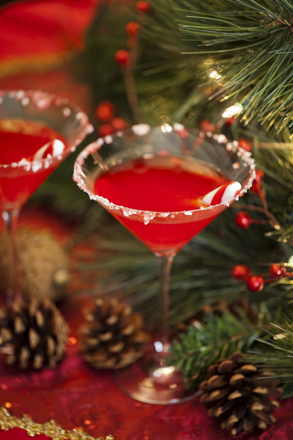 Santa's  Little Helper And Sparkling Peppermint Swirl Holiday Cocktails