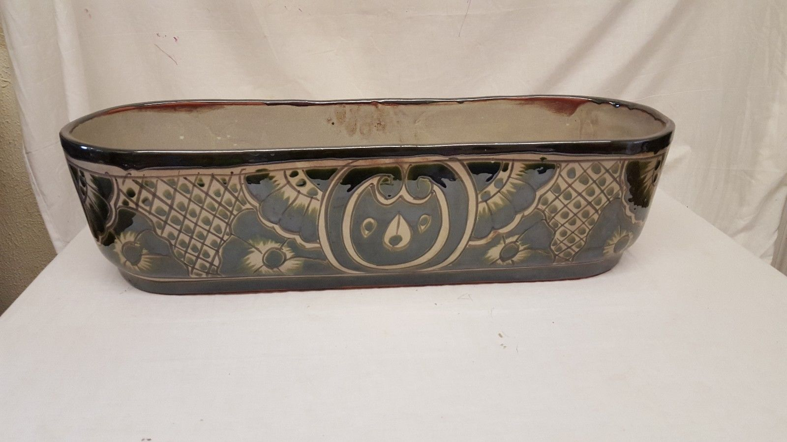 "26"" Talavera Canoe Trough Pot PLANTER Handmade Mexican Ceramic Pottery Garden"