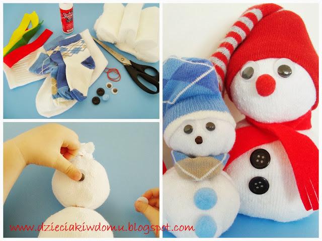 bałwanki ze skarpetek zimowe dekoracje i robótki dla dzieci