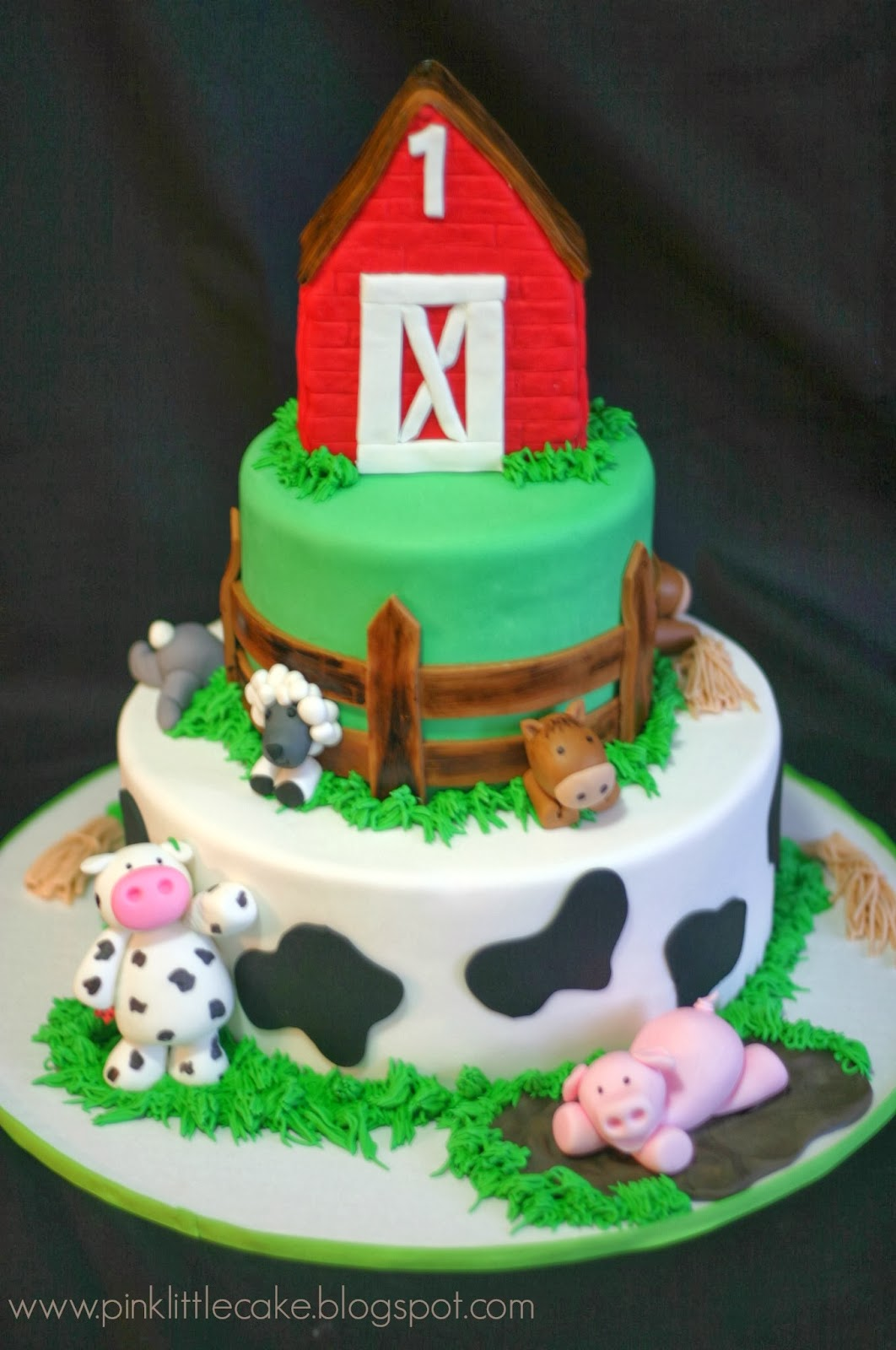 My Pink Little Cake Farm Theme Birthday Cake
