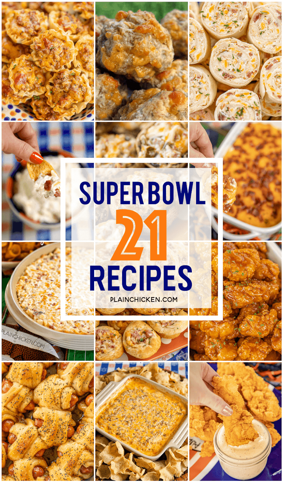 Easy Super Bowl Party Recipes - 21 easy party snacks for your Super Bowl party! Dips, finger foods, desserts - something for everyone! Can make most ahead of time and serve when ready for the big game! #tailgating #appetizer #partyfood