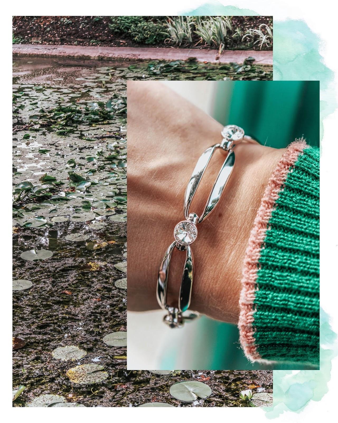 Karen Millen Silver Crystal Ellipse Bracelet