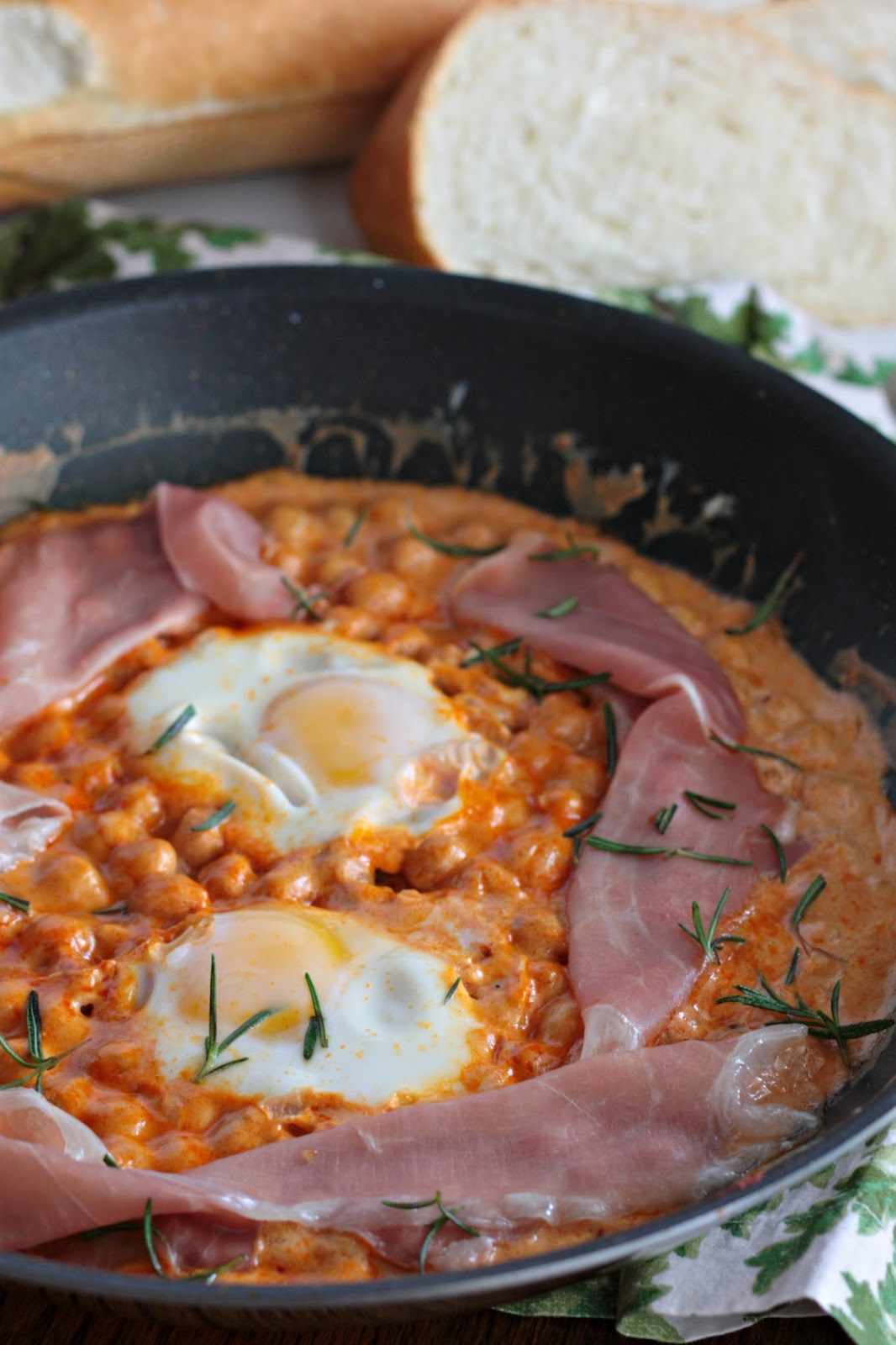 creamy chickpeas with eggs and prosciutto