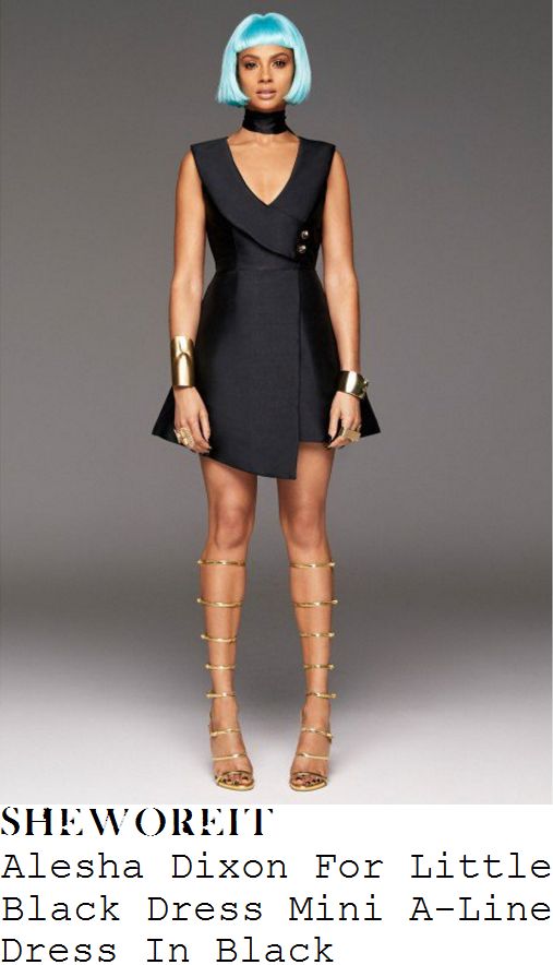 alesha-dixon-alesha-dixon-for-little-black-dress-black-and-gold-plunge-wrap-front-button-detail-asymmetric-mini-dress