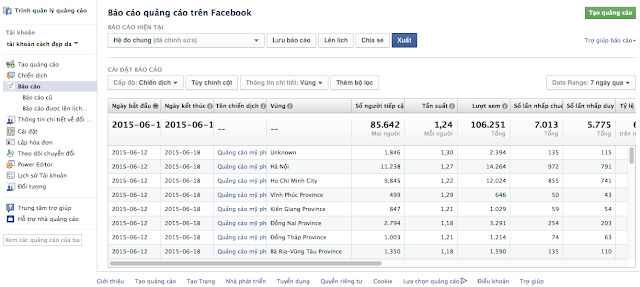 Báo cáo quảng cáo facebook