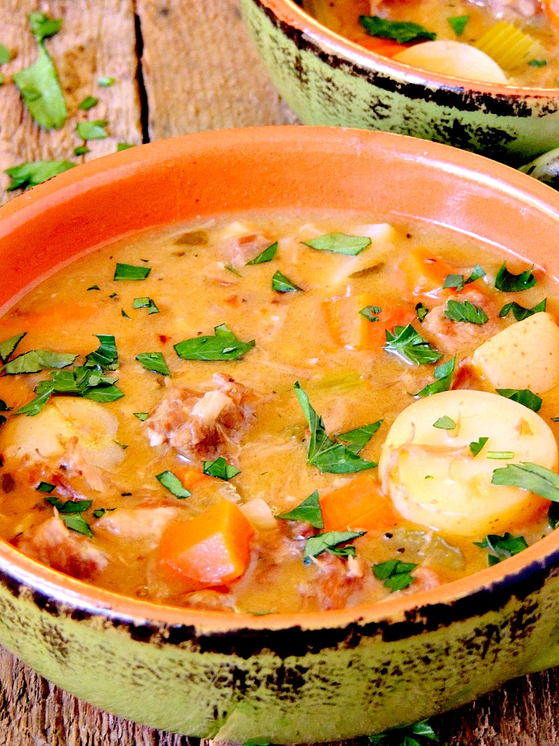 Hearty pork Stew has tender chunks of pork, carrots, and potatoes all enveloped in a rich white wine broth.  from www.bobbiskozykitchen.com