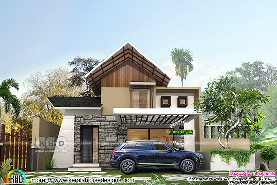 3 BHK mixed roof contemporary budget friendly home