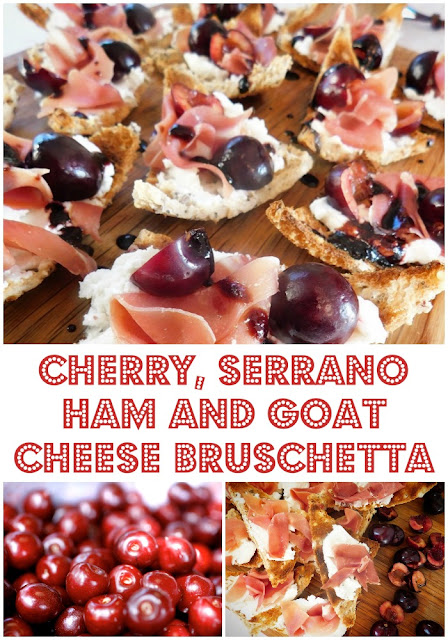 www.foodiequine.co.uk Perfect for a light lunch or as a canape, crunchy melba toast is topped with salty Serrano ham, piquant goats cheese, seasonal Spanish Jerte Picota Cherries and a sticky balsamic cherry drizzle. Cherry Bruschetta is an ideal quick and easy seasonal nibble for a Summer party.