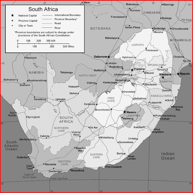 image: Black and white South Africa Map