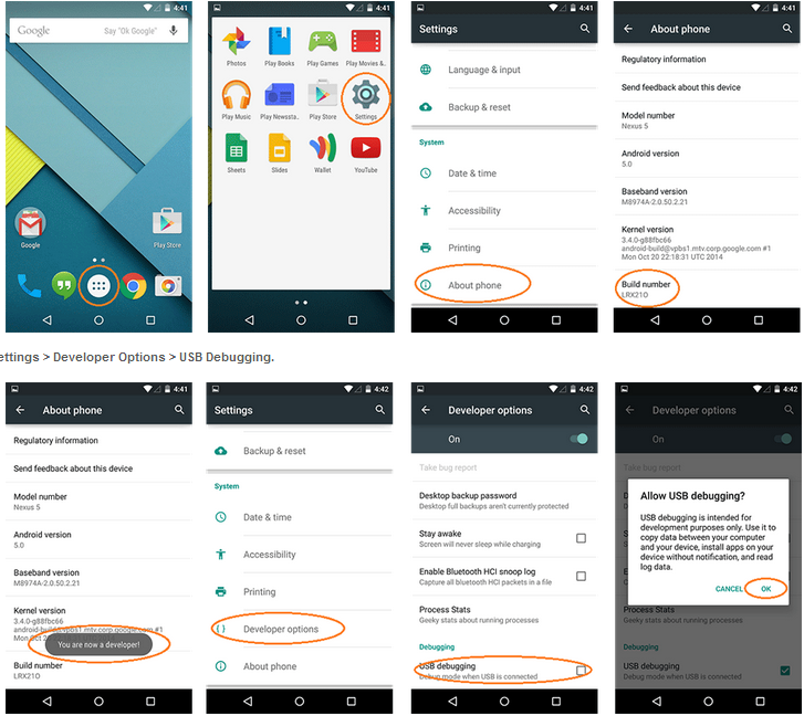 Enable mode US Android Jelly Bean, Android KitKat, Android Lollipop