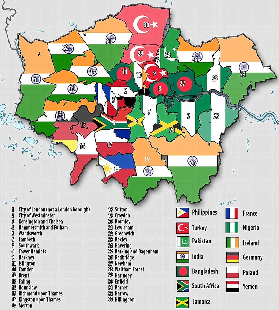 Map reveals one in three London residents were born abroad