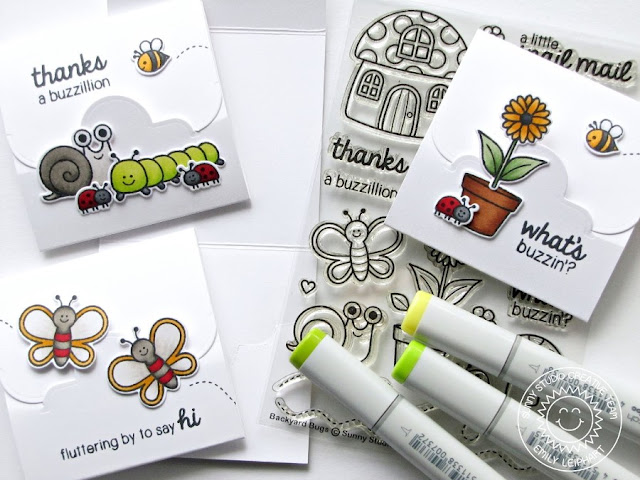 Sunny Studio Stamps: Backyard Bugs Lunchbox Notes by Emily Leiphart using Crescent Tag Topper Dies with Video Tutorial.