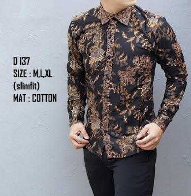 Baju batik pria lengan panjang casual