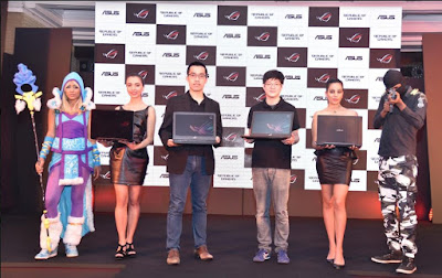 Asus - Arnold Su, National BDM, PC & Gaming, Systems Business, & David Chu, Country Product Manager, Asus India unveil their latest ROG STRIX GL503 series - L To R