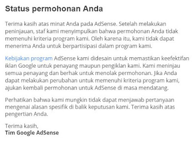 Blog Ditolak AdSense