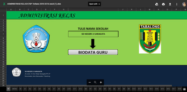 Aplikasi Excel Administrasi Guru Kelas