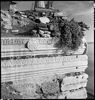 Gate of the Great Palace in the Coastal Fortifications of the Marmara Sea, February 1937. The frieze with the monogram of Justinian was reused in the construction of the sea walls [Credit: © Nicholas V. Artamonoff Collection, Image Collections and Fieldwork Archives, Dumbarton Oaks]