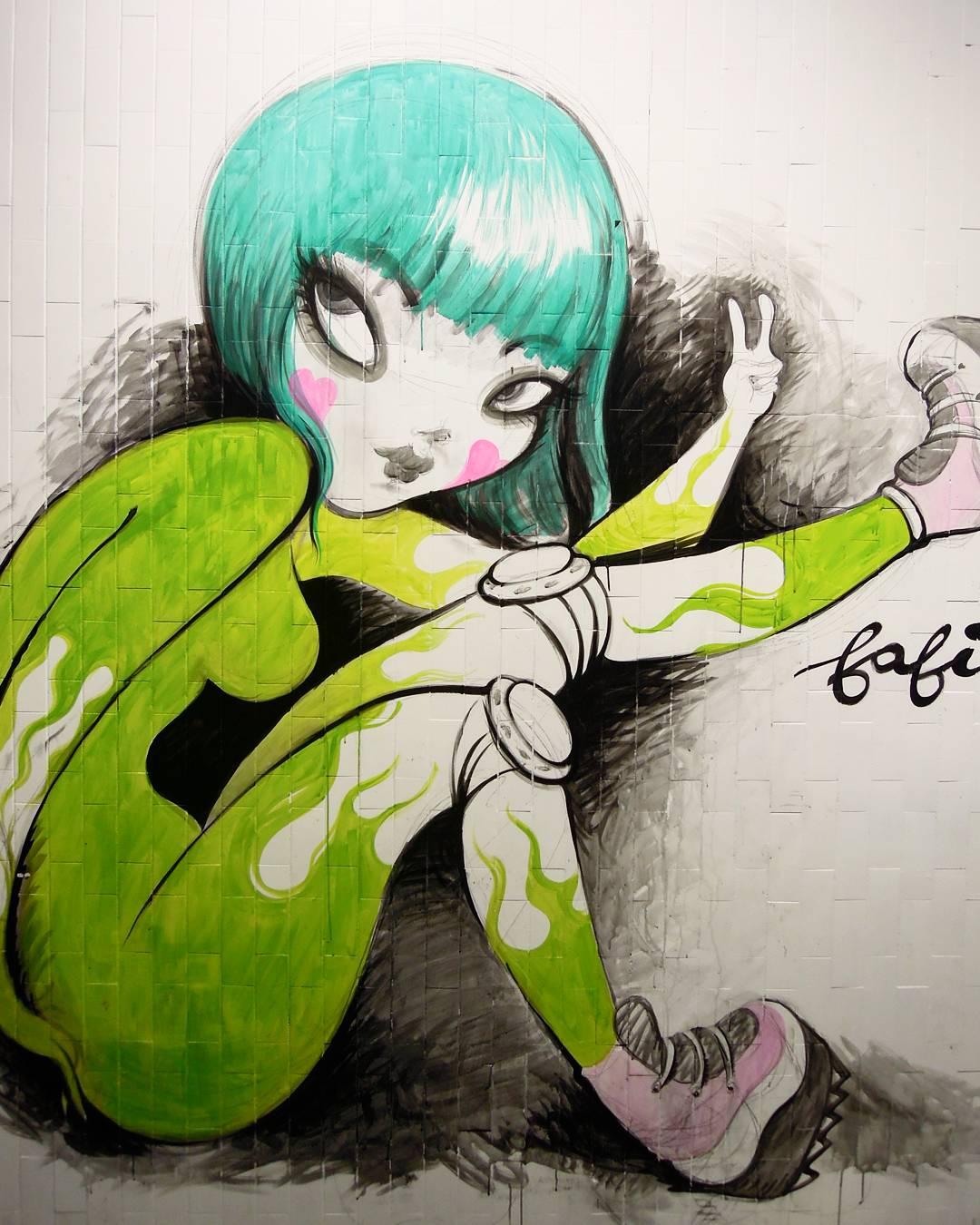 art by Fafi, street art, art urbain, quai 36, gare u nord , paris, wildstreet