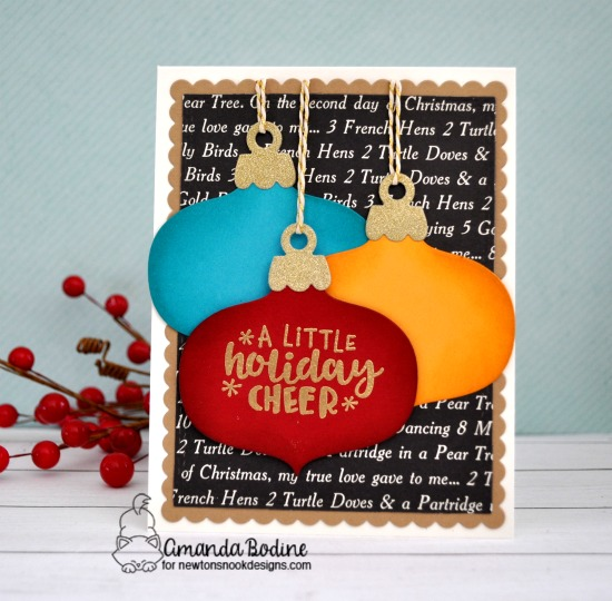 Ornament Card by Amanda Bodine | Ornamental Wishes Stamp Set and Ornament Shaker Die Set by Newton's Nook Designs #newtonsnook #handmade