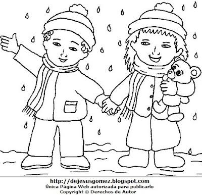 Dibujo de la estación de invierno para colorear, pintar o imprimir  (Niños en plena lluvia en invierno). Dibujo de invierno hecho por Jesus Gómez