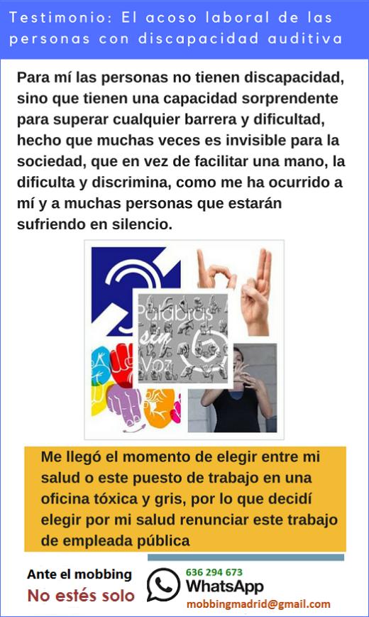 MobbingMadrid Testimonio: El acoso laboral de las personas con discapacidad auditiva